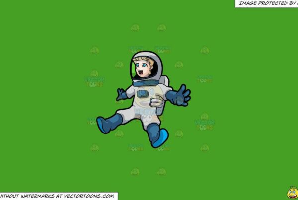 Clipart: A Floating And Elated Male Astronaut Being Surprised By A Sight In Space on a Solid Kelly Green 47A025 Background