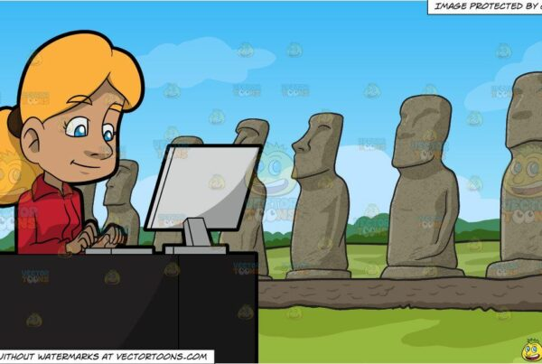 A Woman Typing An Email Using Her Office Desktop Computer and Moai Polynesian Statues Background