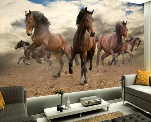 3D Stereoscopic Wallpaper Galloping Brown Horses Wall Mural Home or Business