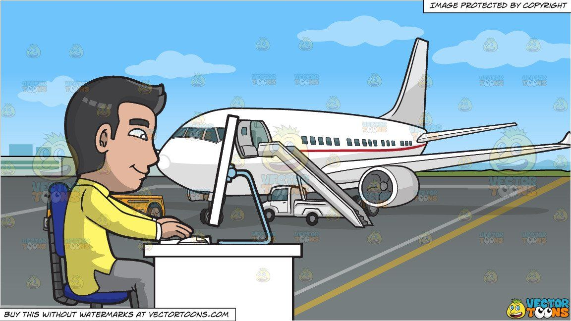 A Man Using A Desktop Computer At Work and An Airport Tarmac Background
