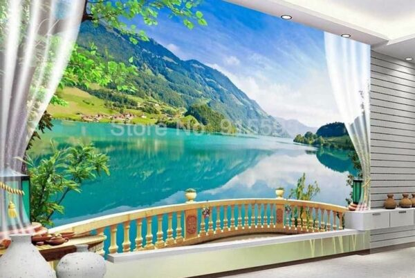 Balcony Window Lake Forest Scenery Wallpaper Mural,  Custom Sizes Available