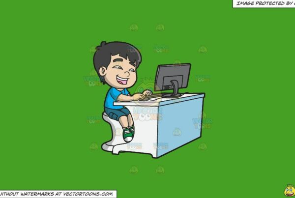 Clipart: A Boy Watching A Funny Video Using A Desktop Computer on a Solid Kelly Green 47A025 Background